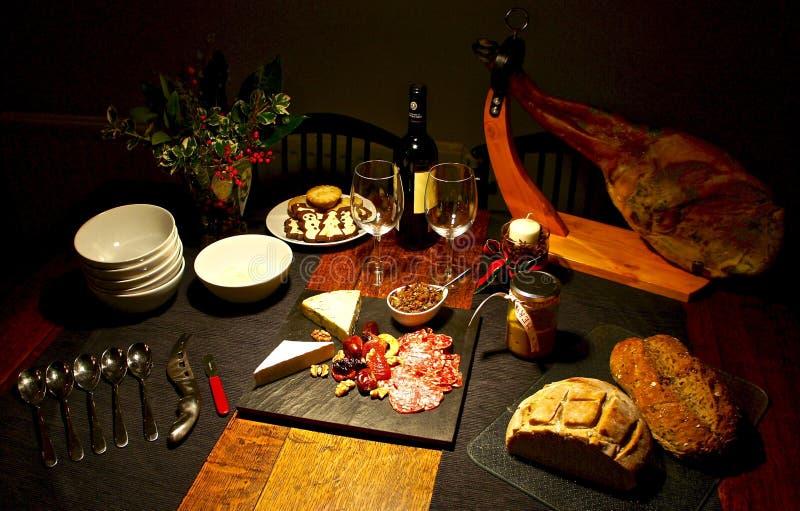 Spanische festliche feinschmeckerische Tabelle, Weihnachten stockbilder