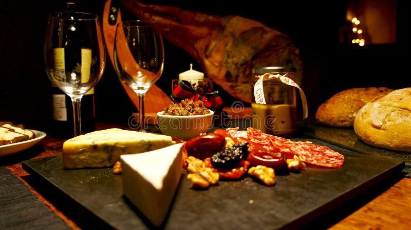 Spanische festliche feinschmeckerische Tabelle, Weihnachten stockfotografie