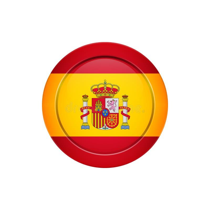 Spanische Flagge auf dem runden Knopf, Vektorillustration stock abbildung