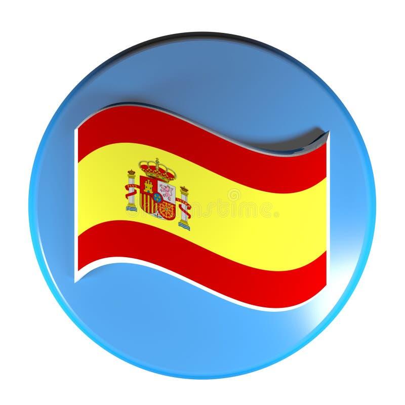 Spanische Flagge des blauen Kreisdruckknopfs - Illustration der Wiedergabe 3D vektor abbildung