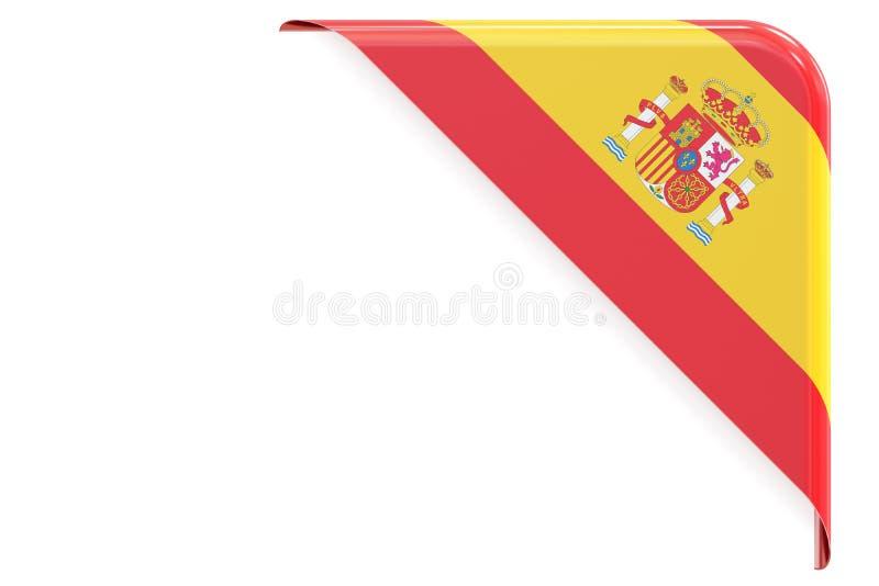 Spanische Flaggenecke, Knopf, Aufkleber Wiedergabe 3d vektor abbildung