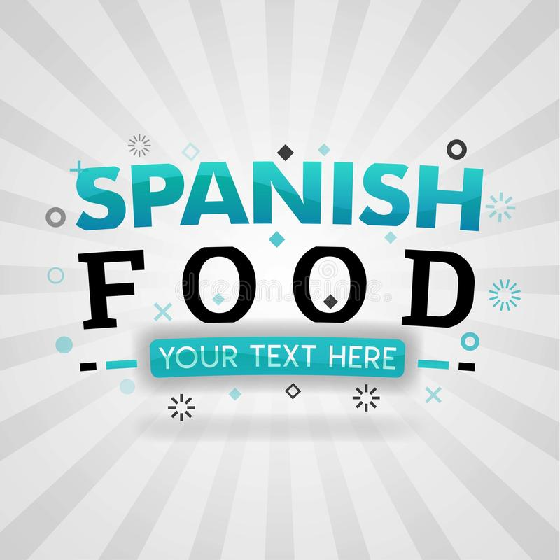 Spanische Nahrungsmittelrezeptideen für gute Nahrungsmittelwebsitenahrung und -koch lizenzfreie abbildung