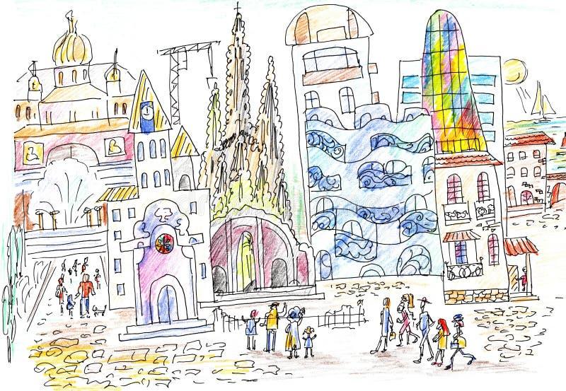 Spanische Straße und Architektur stock abbildung
