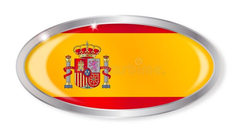 Spanischer Flaggen-Oval-Knopf stock abbildung