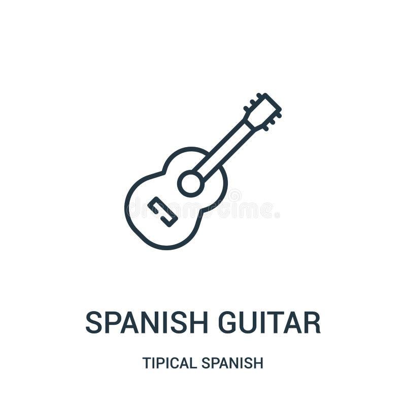 spanischer Gitarrenikonenvektor von der tipical spanischen Sammlung Dünne Linie spanische Gitarrenentwurfsikonen-Vektorillustrati stock abbildung