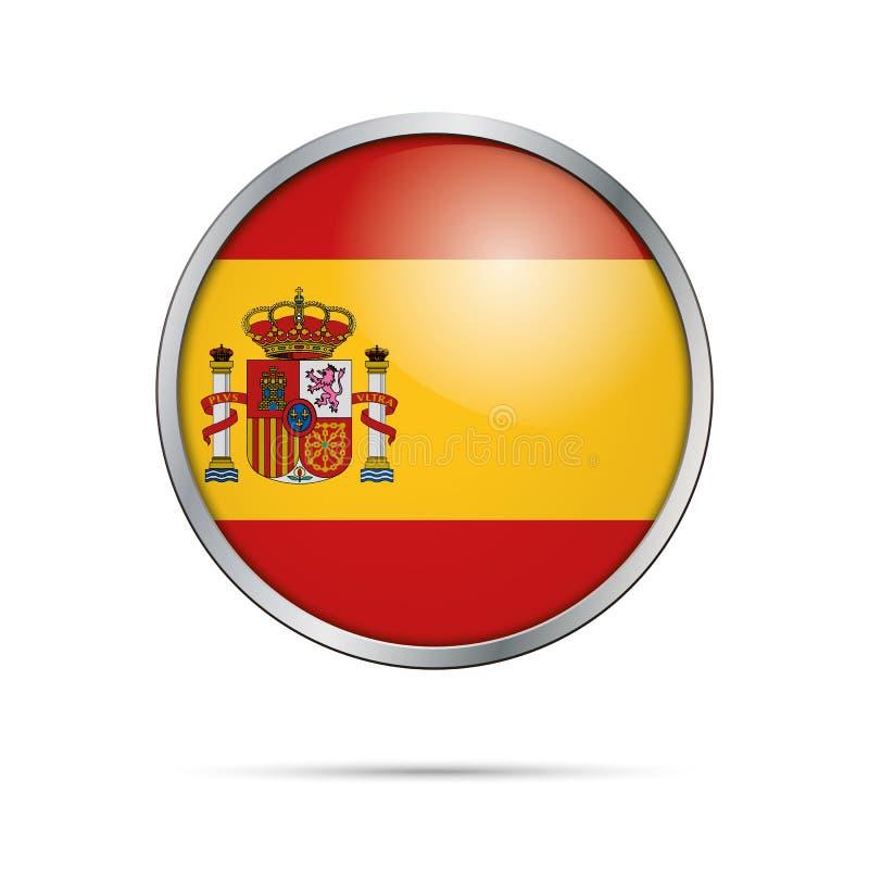 Spanischer Knopf Flagge des Vektors Spanien-Flagge in der Glasknopfart vektor abbildung