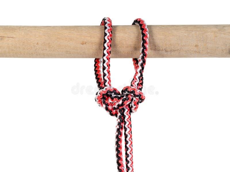 spanischer Palstekknoten gebunden auf synthetischem Seil lizenzfreies stockbild