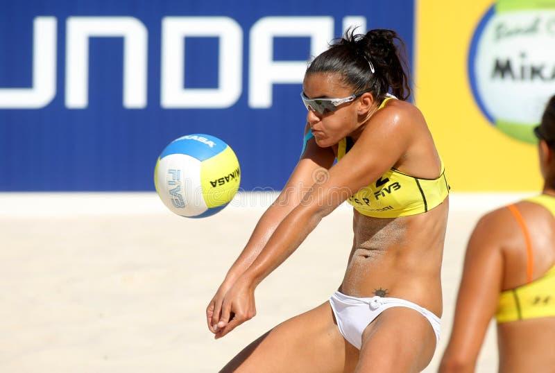 Spanischer Strand Salvespieler Alejandra Simon stockfotos