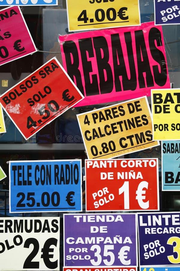 Spanischer Verkauf lizenzfreie stockfotos