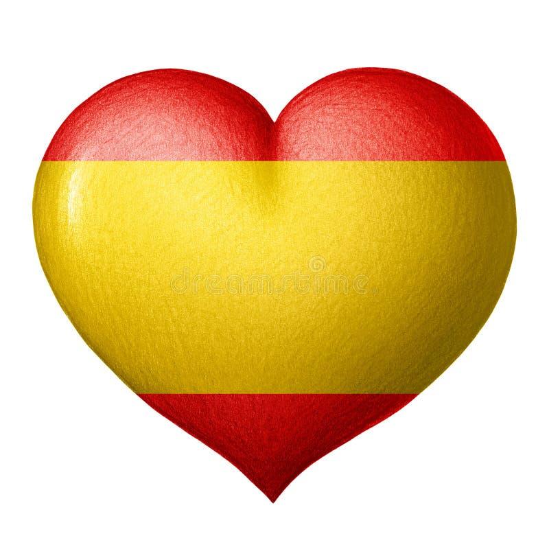 Spanisches Flaggenherz lokalisiert auf weißem Hintergrund lizenzfreies stockfoto