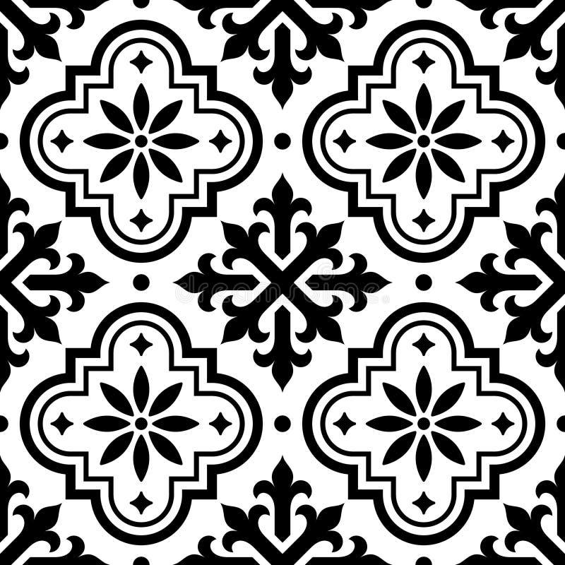 Spanisches fliesenmuster marokkanische fliesen entwerfen nahtloser schwarzweiss hintergrund - Fliesenmuster schwarz weiay ...