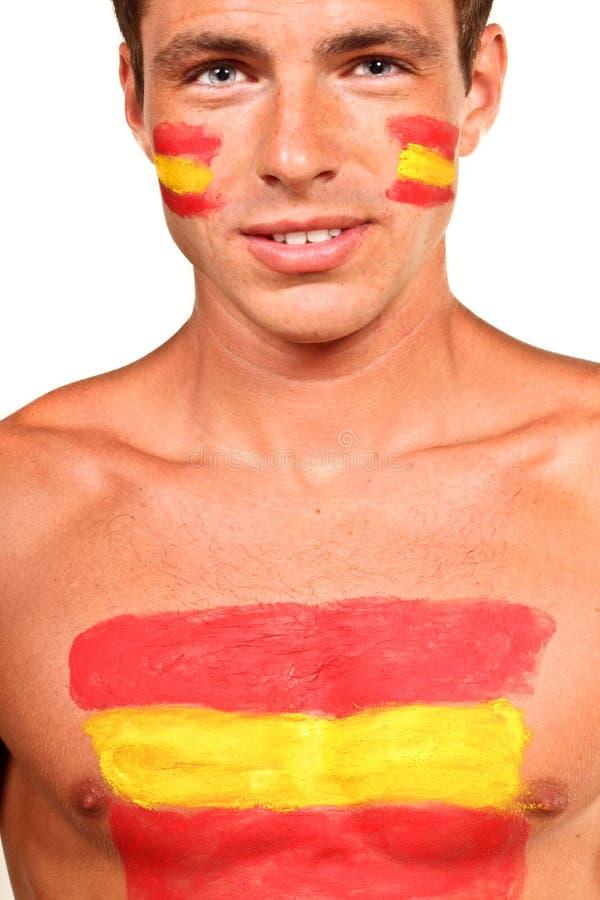 Spanisches Fußballfan lizenzfreie stockfotografie