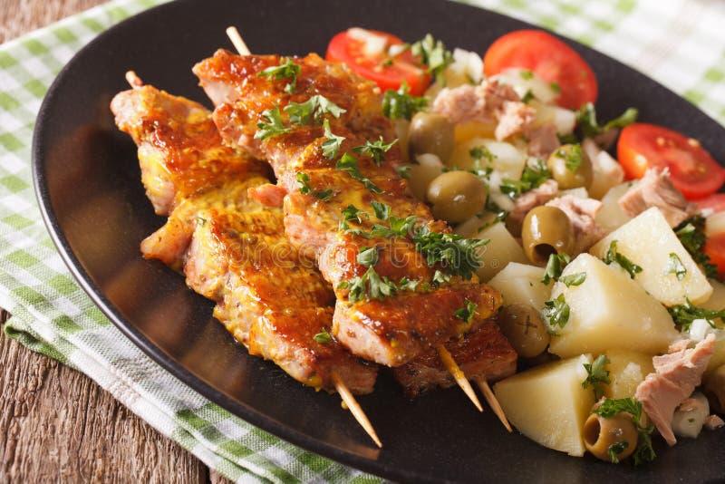Spanisches Lebensmittel: Kebab Pinchos Morunos und Gemüsesalatabschluß-u stockbilder