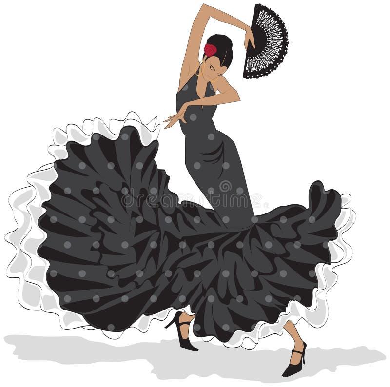 Spanisches Mädchen mit Gebläsetänzen ein Flamenco, Abbildung stock abbildung