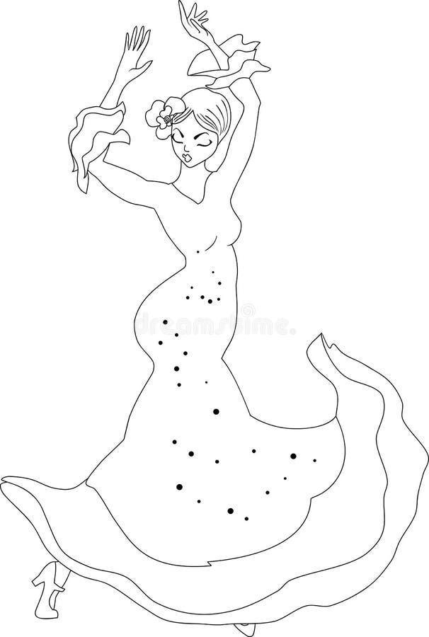 Spanisches Mädchen mit Gebläsetänzen ein Flamenco, Abbildung lizenzfreie abbildung