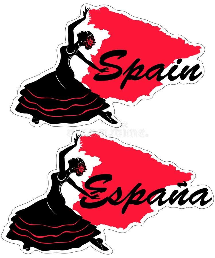 Spanisches M?dchen mit Gebl?set?nzen ein Flamenco, Abbildung Auch im corel abgehobenen Betrag lizenzfreie abbildung