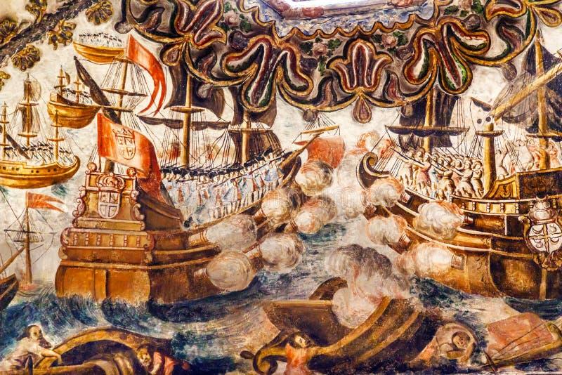 Spanisches Seeschlacht-Fresko-Schongebiet von Jesus Atotonilco Mexiko stockbild