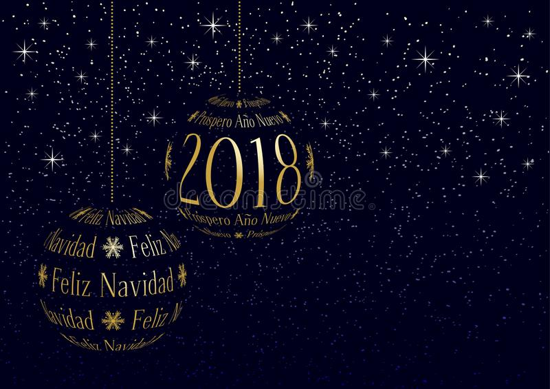 Spanisches Weihnachts- und des neuen Jahresgrußkarte 2018 stock abbildung