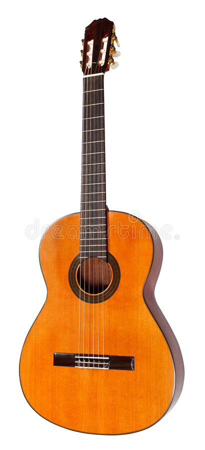 Spanish acoustic guitar isolated on white stock photos