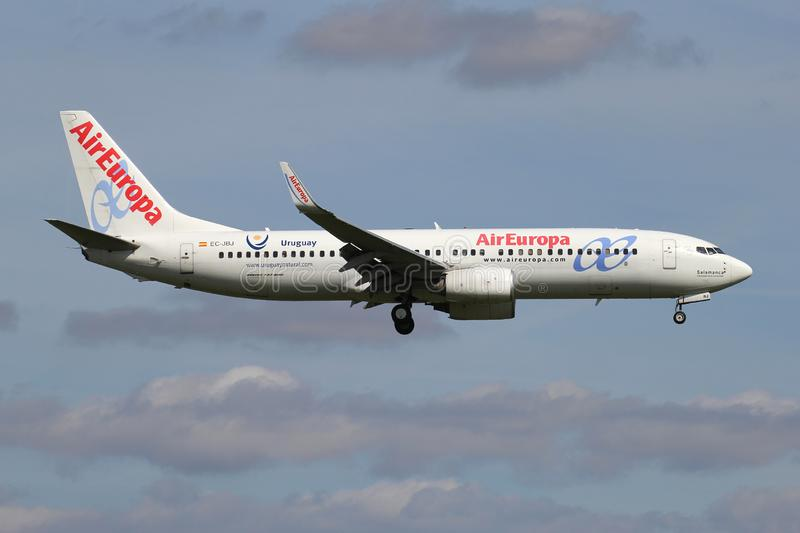 Air Europa Boeing 737-800. Spanish Air Europa Boeing 737-800 with registration EC-JBJ on short final for runway 06 of Amsterdam Airport Schiphol stock photos