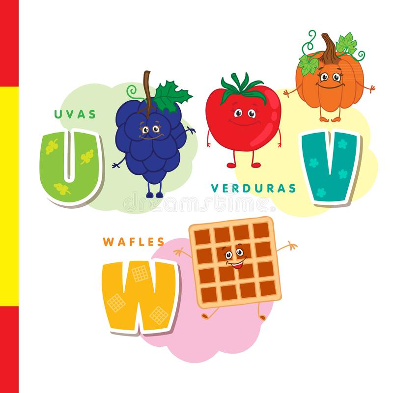 Spanish alphabet. Grapes, vegetables, waffles. Vector letters and characters. vector illustration