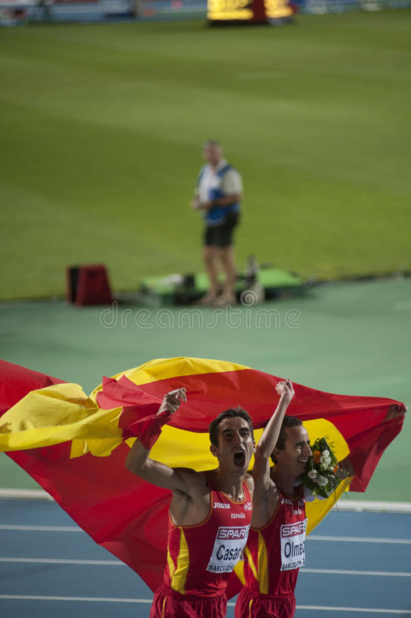 Spanish athletes Manuel Olmedo, Arturo Casado royalty free stock photo