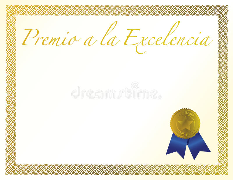 Download Spanish Award Of Excellence With Golden Ribbon. Stock Photo - Image: 20744550