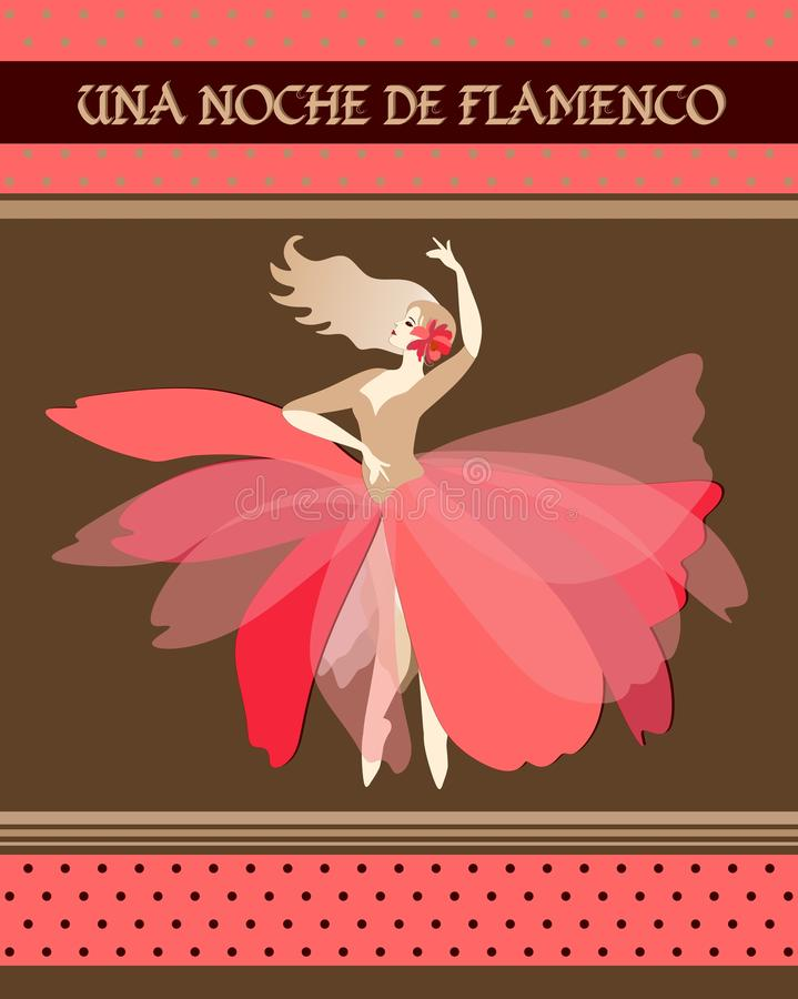 Spanish ballerina with red flower in blonde hair dressed in puff-skirt costume dancing Spain national dance. Flamenco night vector illustration