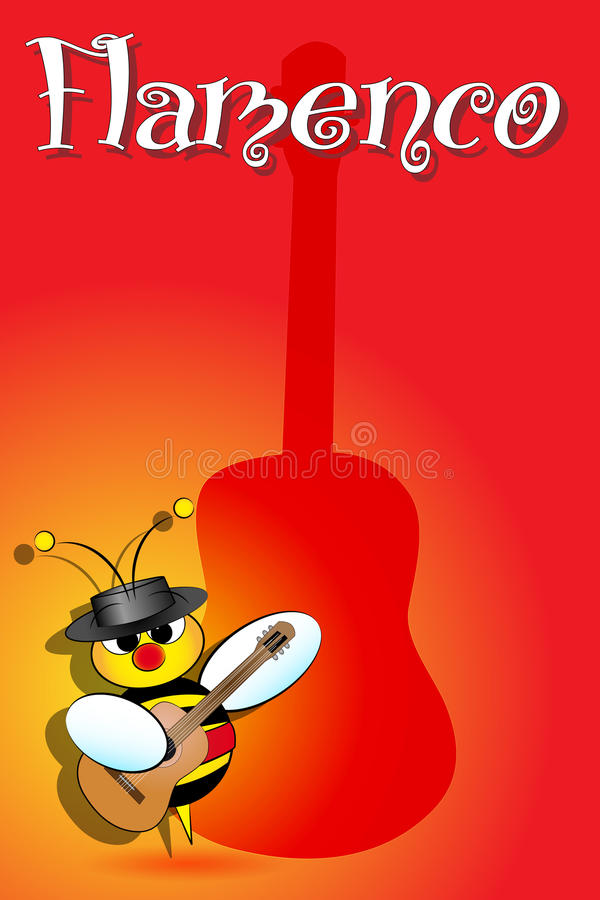 Download Spanish Bees With Flamenco Guitar Stock Vector - Illustration of birthday, flying: 22623569