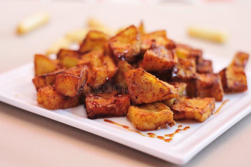 spanish berenjenas con miel de cana, fried eggplants with molasses stock images