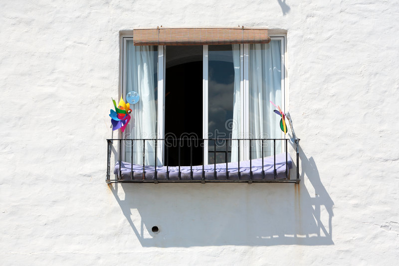 Spanish building and Window on Sunny Day stock photography