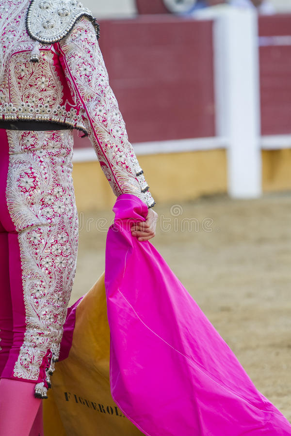 Spanish Bullfighter with the Cape in the bullring. Spain stock image