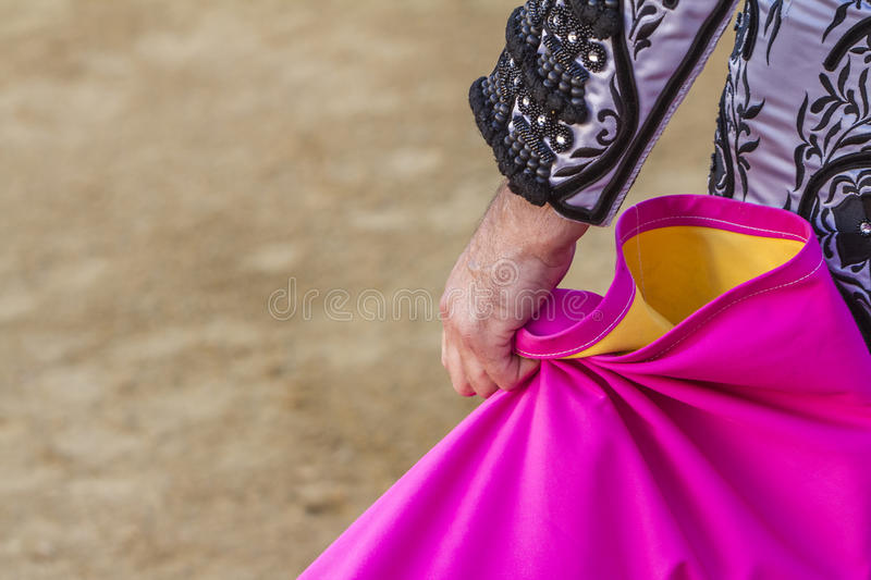 Spanish Bullfighter with the Cape in the bullring. Spain royalty free stock image