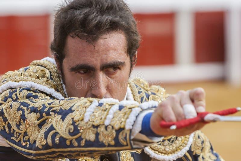 The Spanish Bullfighter David Fandila El Fandi preparing to enter to kill the bull in the Bullring of Pozoblanco, Spain stock photo