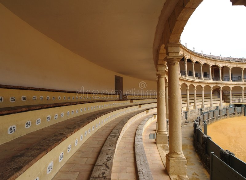 Spanish Bullring. View of a spanish bullring in ronda, Spain. The oldest in Spain and one of the most famous bullrings in the World stock images
