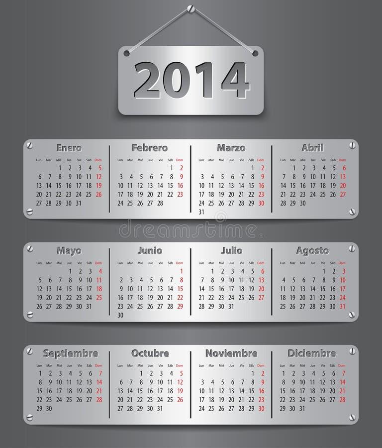 2014 Spanish calendar royalty free illustration