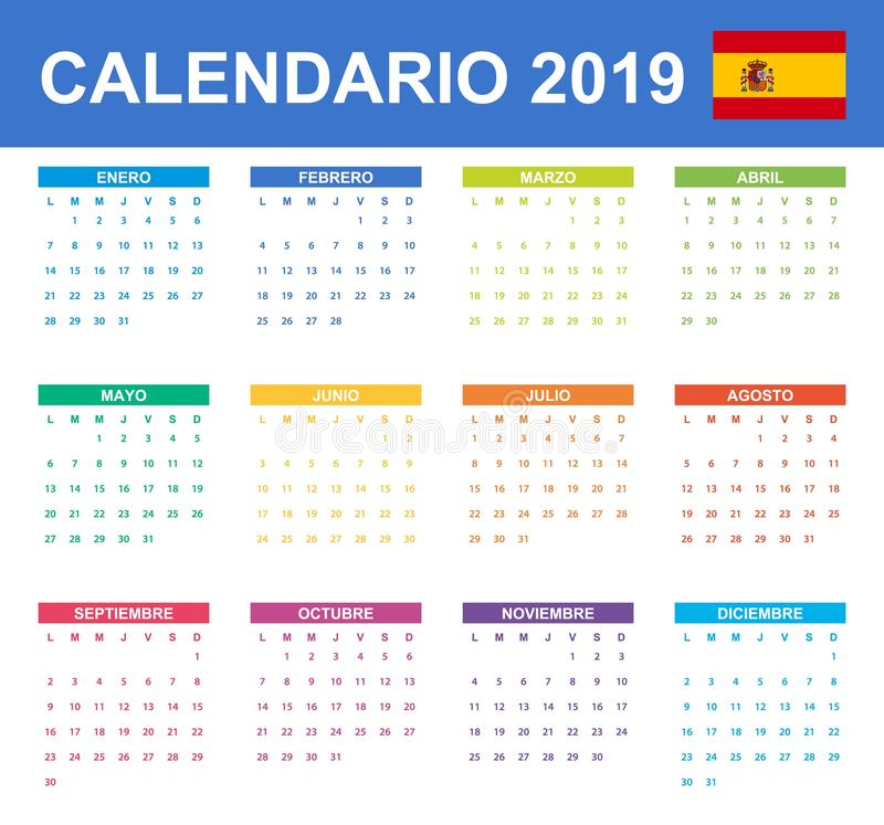 Free Spanish Calendar For 2019. Scheduler, Agenda Or Diary Template. Week Starts On Monday Stock Photo - 135442590