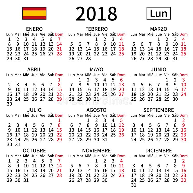Spanish calendar 2018, Monday stock photo