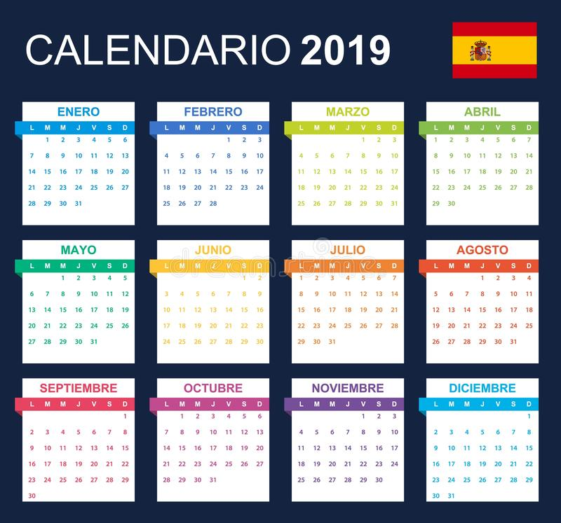 Spanish Calendar for 2019. Scheduler, agenda or diary template. Week starts on Monday.  stock illustration