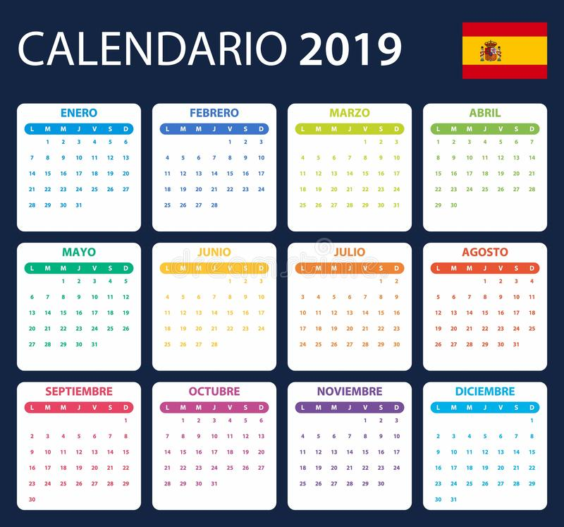 Spanish Calendar for 2019. Scheduler, agenda or diary template. Week starts on Monday.  royalty free illustration