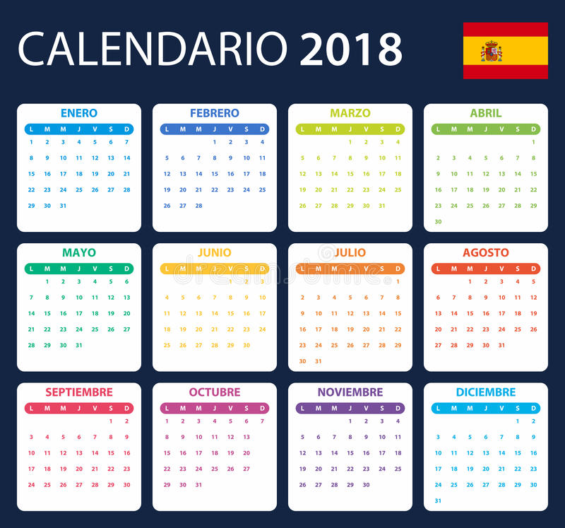 Spanish Calendar for 2018. Scheduler, agenda or diary template. Week starts on Monday.  stock illustration