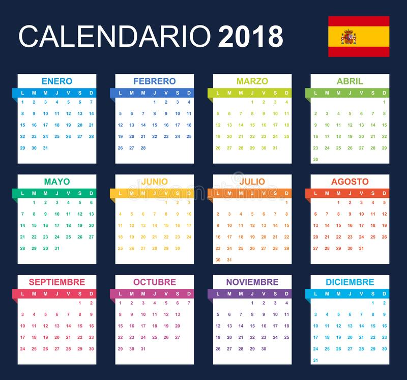 Spanish Calendar for 2018. Scheduler, agenda or diary template. Week starts on Monday.  royalty free illustration