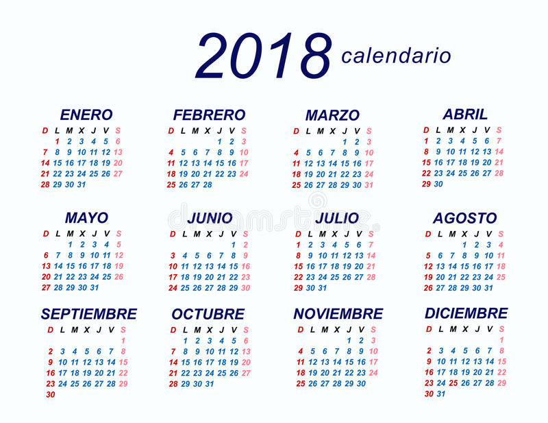 2018 Spanish Calendar Stock Vector Illustration Of Calendar 84962984