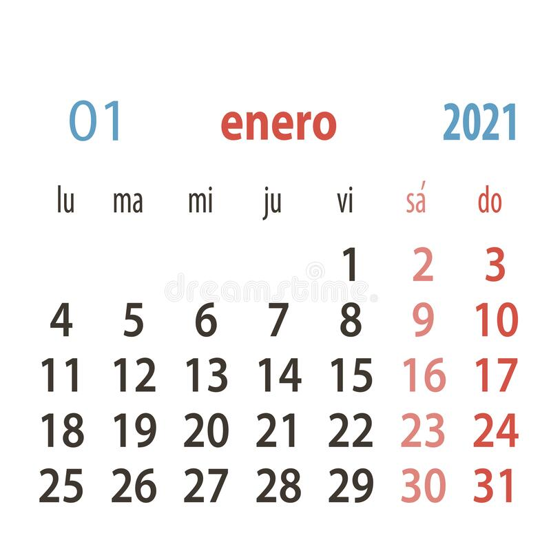 Spanish Calendar 2021 Vector Template .Week Starts Monday ...