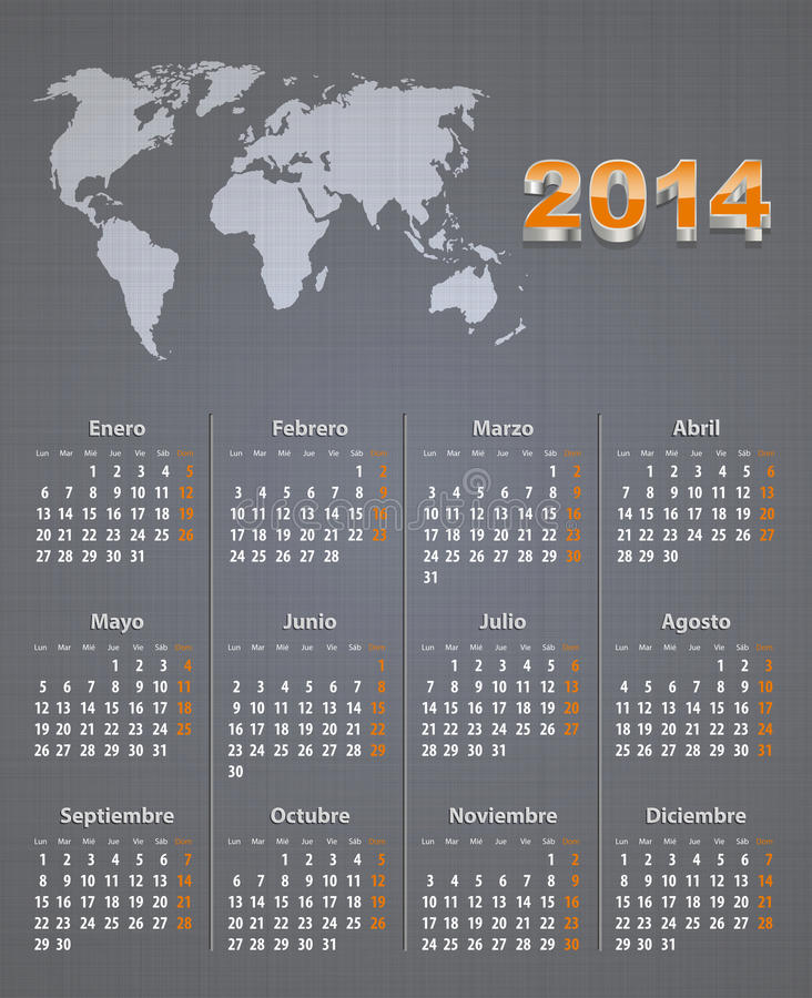 Download Spanish Calendar For 2014 With World Map On Linen Stock Photos - Image: 34621153