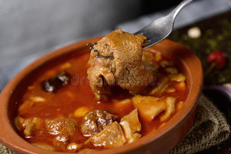 Spanish callos, a beef tripe stew with chickpeas royalty free stock images