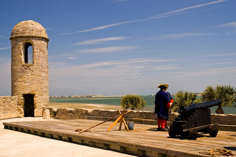 Spanish Cannon And Guards Royalty Free Stock Photography