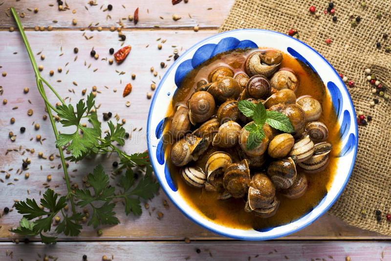 Spanish caracoles en salsa, cooked snails in sauce. High-angle shot of a ceramic bowl with spanish caracoles en salsa, cooked snails in sauce, on a rustic wooden stock photos