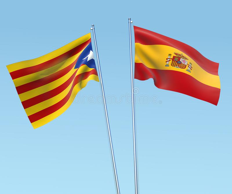 Spanish and Catalan flag. With sky background vector illustration