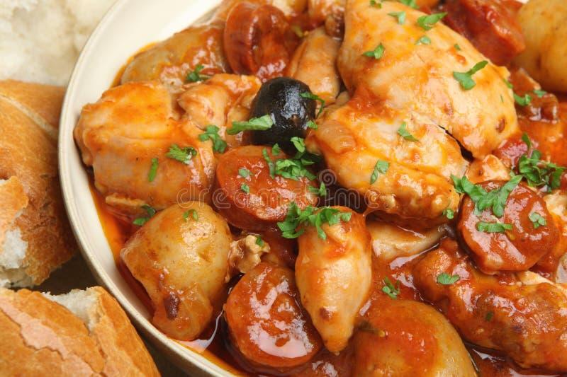 Spanish Chicken Stew. With chorizo sausage,olives and new potatoes stock photo